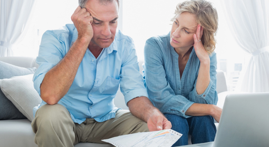 Couple showing concern over bills