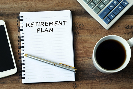 Retirement plan written in a notebook